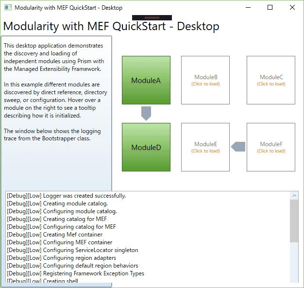 アプリケーションを起動すると、モジュールDとモジュールAは、発見され、初期化されます。