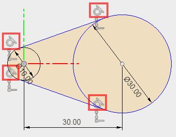 プーリーのベルトをはめる部位の直径の円を描き、プーリー間の距離を指定します。