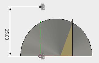 y軸上に点を配置し、寸法指定拘束を任意の値で指定し、スケッチを停止します。