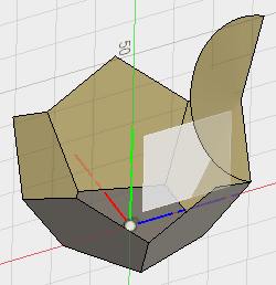 1つの辺を隣接する辺で回転し面を新規コンポーネントで作成します