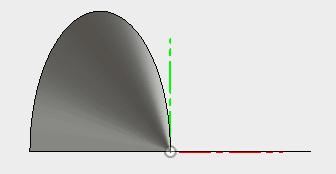 横から確認すると基準軸と回転で作成したサーフェスは交差していないことが確認できます