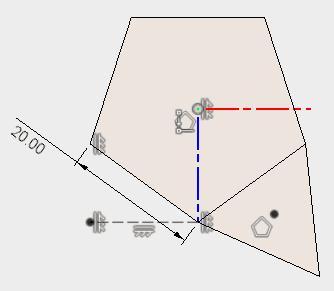横に水平線を描き、作図線に変更して、スケッチを終了します。