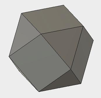 立方八面体は、正三角形が8枚、正方形が6枚で構成されています