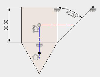 直線を引いて、作図線に変更し、スケッチを停止します。