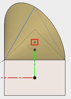 3角形の中心に点を配置し、スケッチを停止します。
