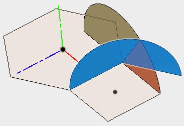 回転で作成した2つの面の交線を取得するために、トリムします。