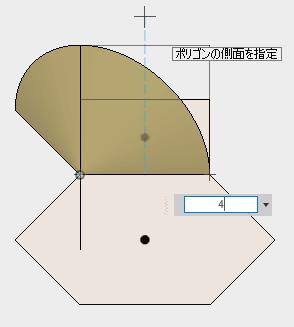 角数を4に指定し、四角形を描きます。