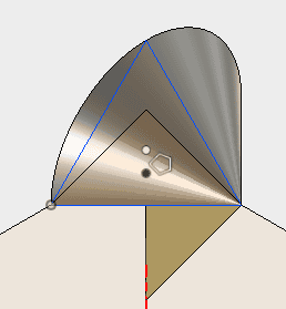 構築した面に3角形をスケッチします。