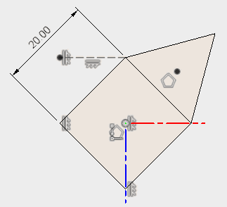 直線を引いて、作図線に変更し、拘束を追加します