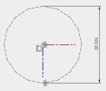 内接で16角形を描き、拘束を追加します。