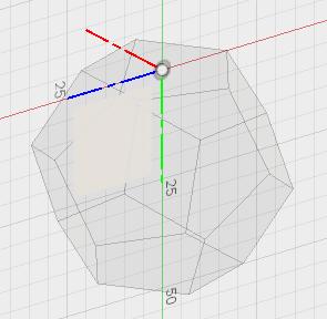 5角形の辺の中点を直行するyz平面を選択します。