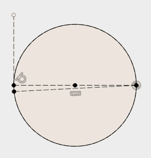 描いた円の中心を通る線の接戦を描き、作図線に変更して、スケッチを停止します。水平に描いた線と円の中心を通る線の2つで、一致拘束することで、描いた円を拘束します。
