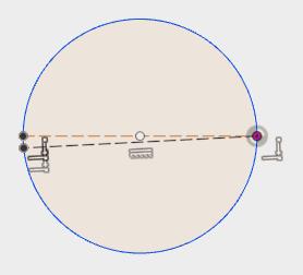 描いた円の中心を通る線を描いて、作図線に変更します。