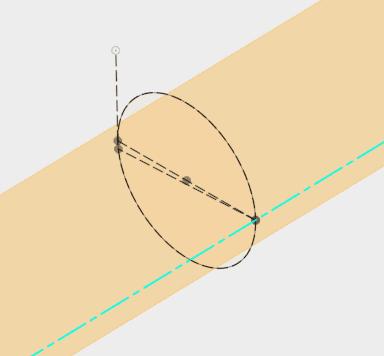 円の中心を通る作図線と作成した軸を指定して、平面を作成します