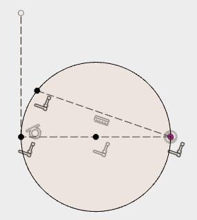 水平の直線、円の中心を通る直線の2つの端点を描いた円上の拘束を設定することで、円を固定します。