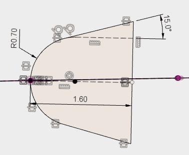 スケッチの中心が、パスの角度とずれているので、スケッチをプロジェクトで投影します。