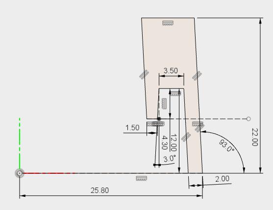 側面の形状を作成するための回転で使うスケッチ
