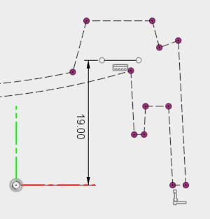 押し出す位置を指定するために使用する直線を描きます。