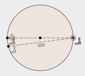 描いた円の中心を通る線を描いて、作図線に変更して、スケッチを停止します。水平に描いた線と円の中心を通る線の2つで、一致拘束することで、描いた円を拘束します。