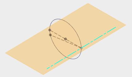 円の中心を通る作図線と作成した軸を指定して、平面を作成します。