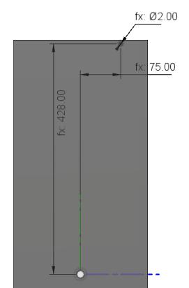 側板の木ねじの下穴のスケッチ