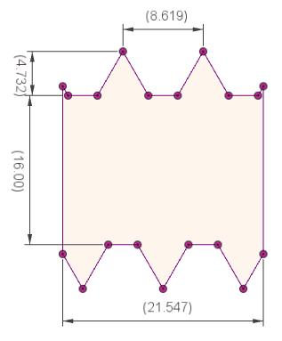 縮小前の形状の断面スケッチ(値調整後)