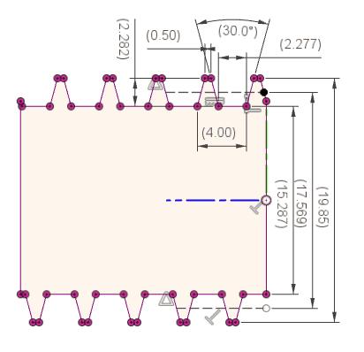 交差で取得した台形ねじのスケッチに寸法を入れ、形状を確認します。