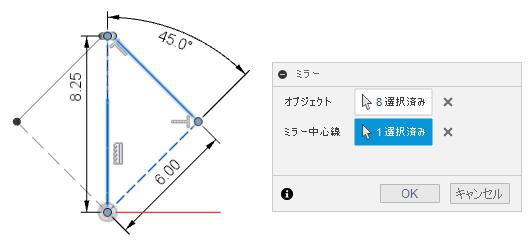 スケッチのミラーは、ミラー対象のオブジェクトと対称線を選択します。