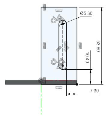ブラケットを固定するために使用する角丸長方形を描きます。