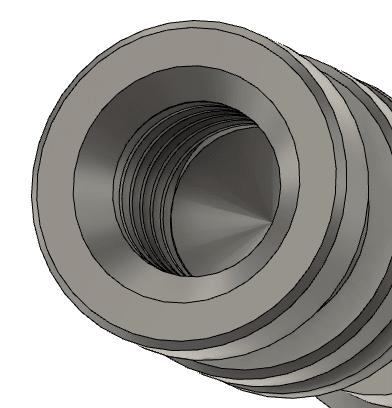 穴ツールで面取りを追加するとネジが端まで切れていない。