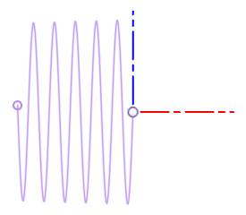 基準の長さ部側の螺旋のスケッチ
