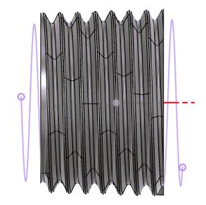パスと傾斜のある円柱との長さの比較