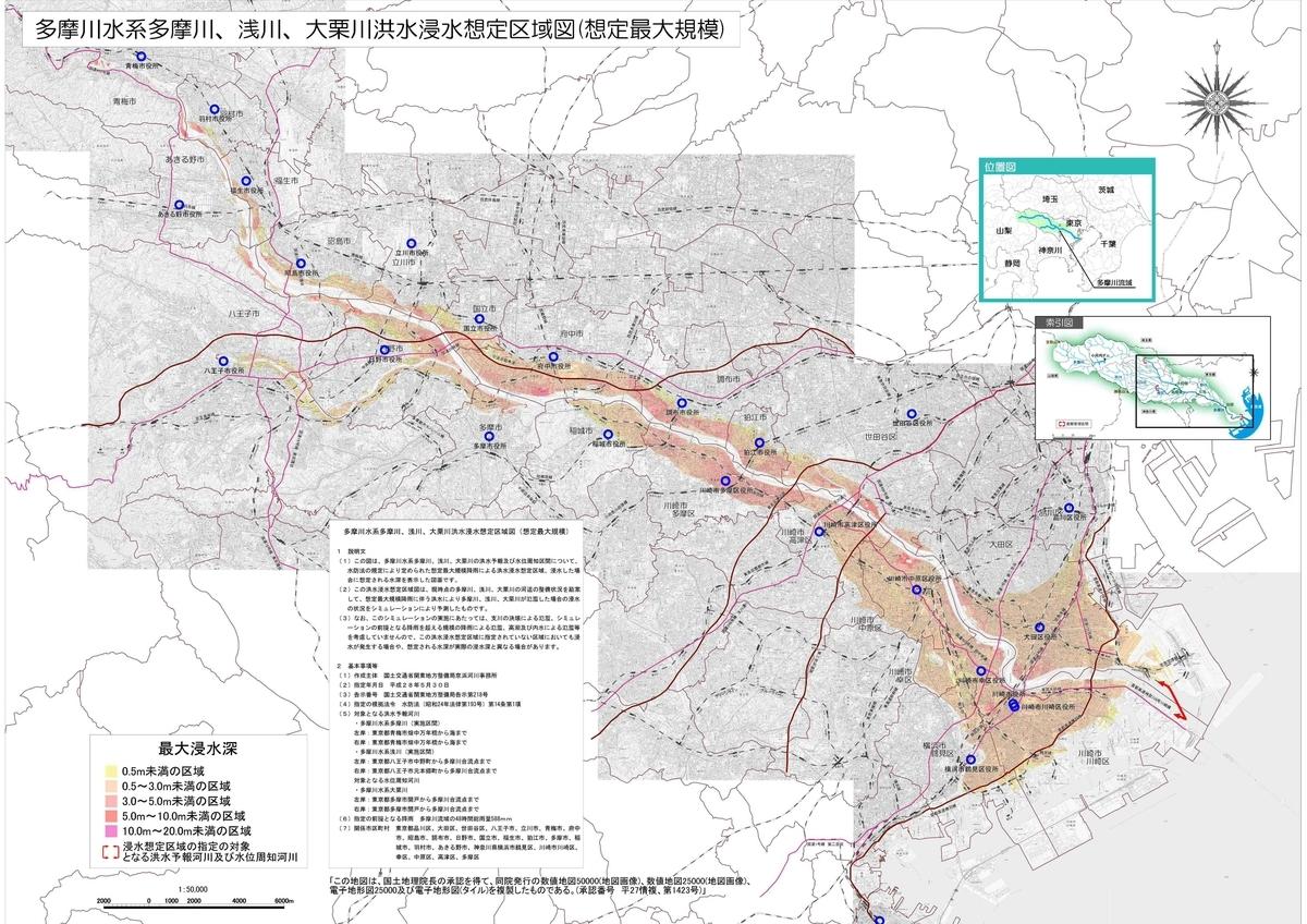 多摩川ハザードマップ