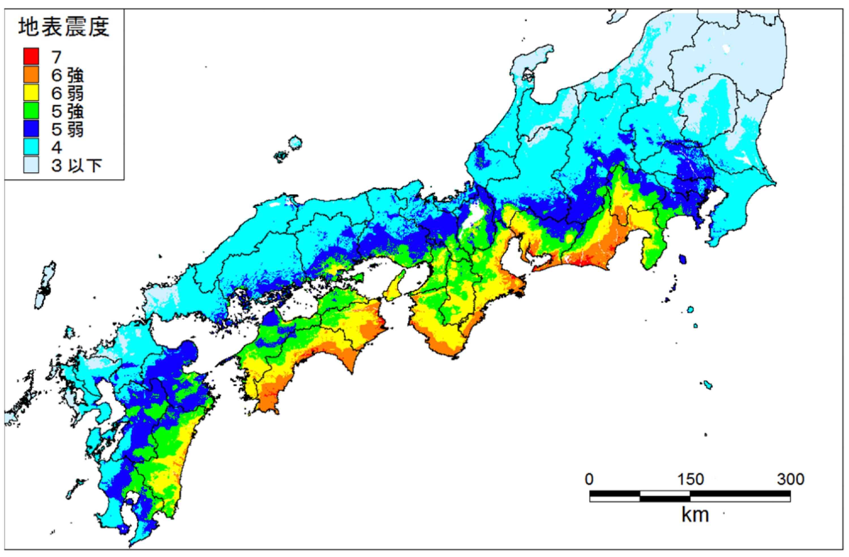 南海トラフ巨大地震の震度予測(基本ケース)