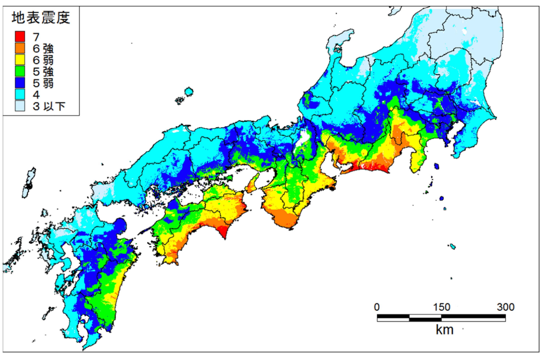 南海トラフ巨大地震の震度予測(東側ケース)