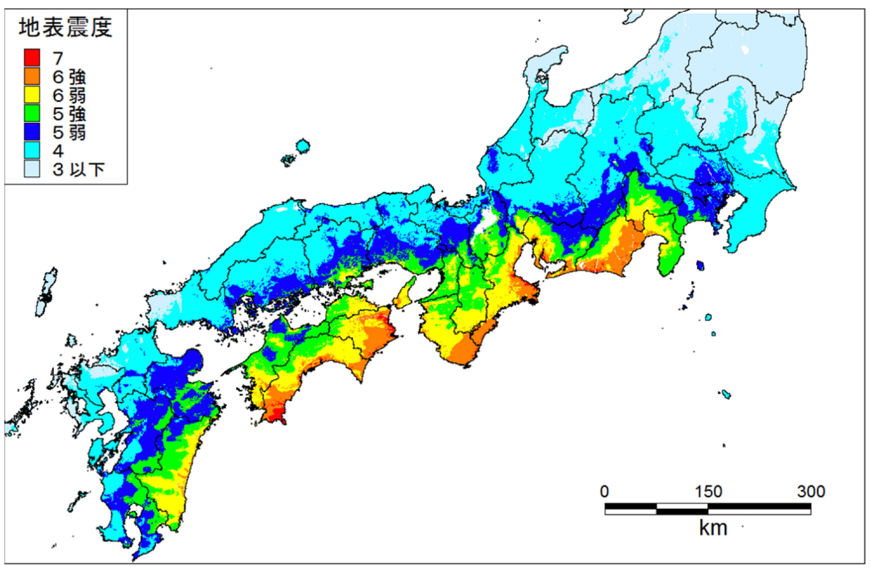 南海トラフ巨大地震の震度予測(西側ケース)