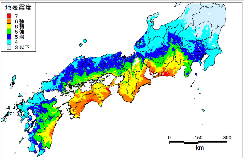 南海トラフ巨大地震の震度予測(陸側ケース)