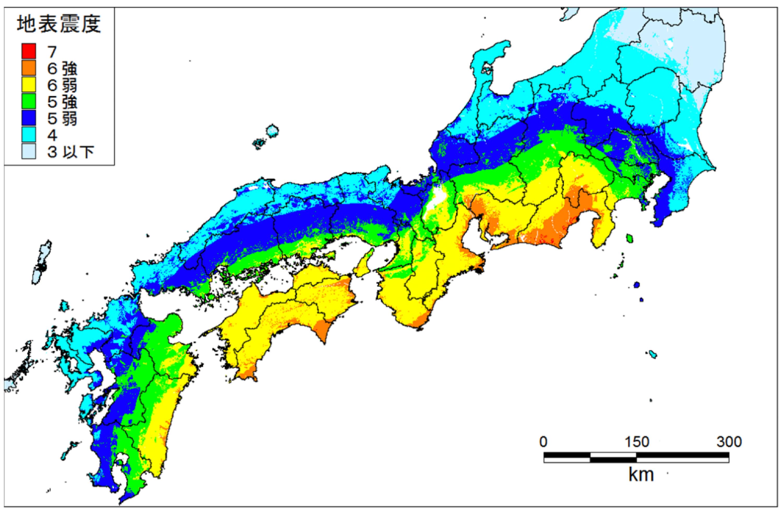 南海トラフ巨大地震の震度予測(経験的手法)