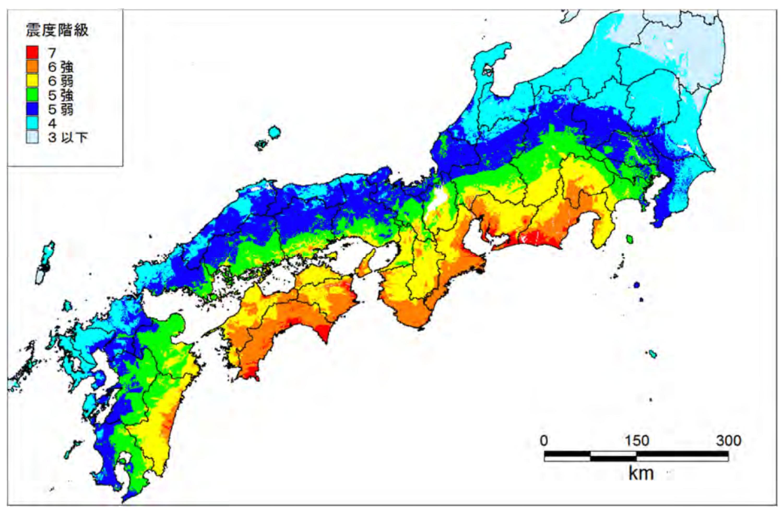 南海トラフ巨大地震の震度予測(最大値の分布)