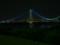 夜の明石海峡大橋。帰り道のクライマックスポイント。