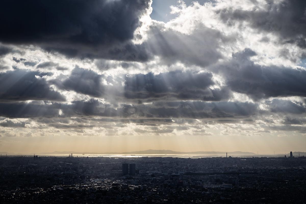 大阪の夜景スポット水呑地蔵尊からの景色