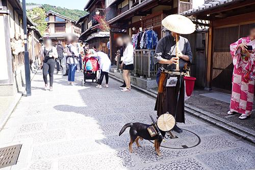 京都東山地区で犬を連れた虚無僧