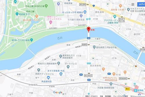 東岡崎駅から岡崎城への地図