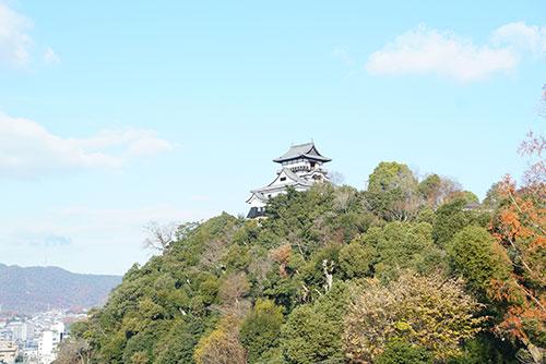 青空の下の犬山城