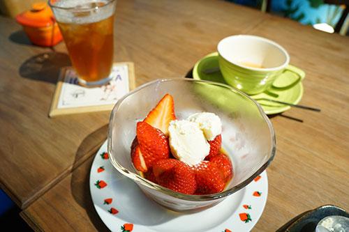 美濃姫いちごに苺アイスティー+ホットティーモアフリー