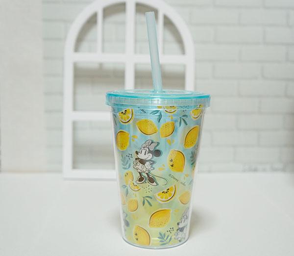 ミニーマウスとレモン柄ドリンクカップ