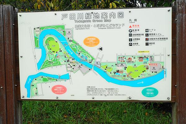 川に沿って長く広い戸田川緑地
