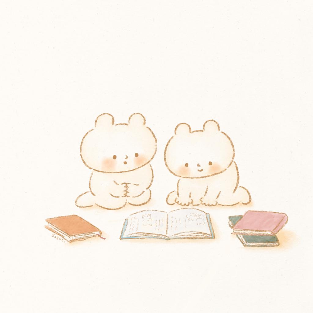くまねこたち「読書の秋」