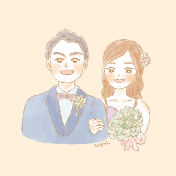 似顔絵結婚式夫婦