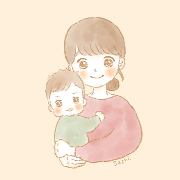 似顔絵ママと男の子